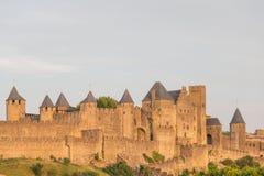Средневековый город Каркассона, Лангедок-Русильона Стоковое Изображение