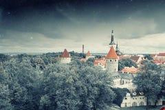 Средневековый городок под звездами Стоковая Фотография