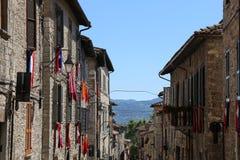 Средневековый городок Gubbio в Умбрии Стоковая Фотография RF