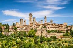 Средневековый городок San Gimignano, Тосканы, Италии Стоковое Изображение RF