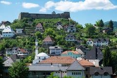 Средневековый город с крепостью и мечетью Стоковое Изображение RF