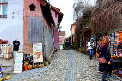 Средневековый город Sighisoara Городской ландшафт в центре города средневекового города Sighisoara, Трансильвании Стоковые Изображения