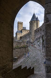Средневековый замок Каркассон Стоковые Изображения RF