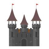 Средневековый замок с башнями - огороженный городок Стоковая Фотография RF