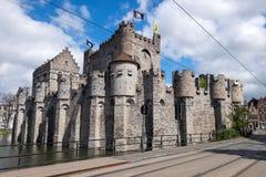 Средневековый замок Gravensteen в Генте Стоковые Изображения