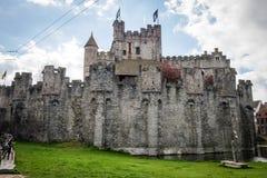 Средневековый замок Gravensteen в Генте Стоковая Фотография
