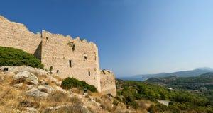 Средневековый замок Kritinia в Родосе Греции Стоковые Фотографии RF