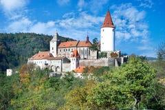 Средневековый королевский готический замок Krivoklat, чехия стоковое изображение