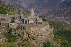 Средневековый монастырь Tatev, Армения, около IX столетие, большое buildin стоковое фото
