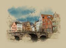 Средневековый мост над каналом в Брюгге, Бельгии иллюстрация штока