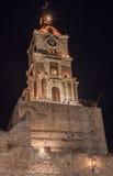 Средневековый остров Греция Родоса башни с часами Стоковая Фотография RF