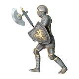 Средневековый рыцарь на белизне иллюстрация штока