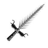 Средневековый серебр шпаги фантазии с славной ручкой и острым лезвием Стоковое Изображение RF