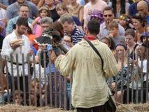 Средневековый соколиный охотник 12 фестиваля 2016 Стоковое Изображение RF