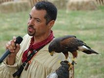 Средневековый соколиный охотник 20 фестиваля 2016 Стоковые Фото