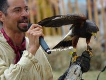 Средневековый соколиный охотник 30 фестиваля 2016 Стоковое фото RF