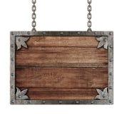 Средневековый старый знак при изолированные цепи Стоковые Изображения RF