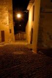 средневековый узкий городок улицы ночи Стоковые Изображения RF