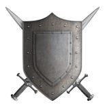 Средневековый экран рыцаря герба и 2 шпаги Стоковые Изображения RF