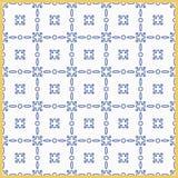 Среднеземноморская традиционная голубая и белая картина плитки Плитка арабескы керамическая Стоковое Изображение