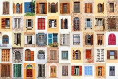 Среднеземноморские окна стоковая фотография