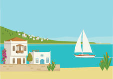 Среднеземноморской взгляд городка пляжа Иллюстрация штока