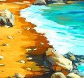 Среднеземноморской пляж в Испании, картине, иллюстрации иллюстрация штока