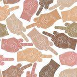 Средний палец вручает безшовную картину, предпосылку для стены Стоковые Изображения