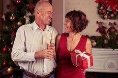Средний портрет старшия поженился пары стоя близко рождество tr Стоковое фото RF