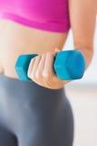 Средний раздел веса гантели женщины поднимаясь Стоковые Фото