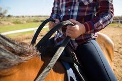 Средний раздел девушки ехать лошадь в ранчо Стоковое фото RF