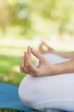 Средний раздел молодой женщины размышляя сидя на циновке тренировки Стоковое Изображение