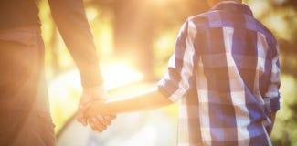 Средний раздел отца и сына держа руки в лесе Стоковые Фото