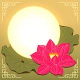 Средний цветок и луна лотоса фестиваля осени Стоковые Фотографии RF