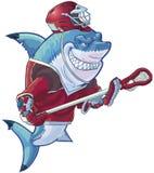 Средняя акула лакросс шаржа с оборудованием Стоковые Фото