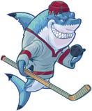Средняя акула хоккея шаржа с ручкой и шайбой Стоковые Изображения RF