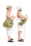 Средн-постаретые люди с хворостинами дуба для русской ванны Стоковая Фотография