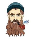Средн-постаретый человек при борода куря трубу Матрос или рыболов в связанной шляпе Иллюстрация портрета вектора иллюстрация вектора