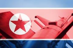 Средства массового поражения Ракета Северной Кореи ICBM Война Backg Стоковые Изображения