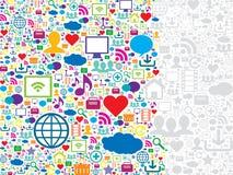Средства массовой информации безшовной картины социальные и значки технологии Стоковое фото RF