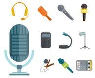 Средства массовой информации в реальном маштабе времени звука студии аудио радиоэфира голоса выставки инструмента ТВ музыки интер Стоковое Изображение RF