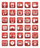 Средства массовой информации значков красные Иллюстрация вектора