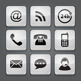 Средства массовой информации и кнопка связи - установленные значки. Стоковое Изображение RF