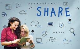 Средства массовой информации сети деля концепцию графика значков стоковая фотография