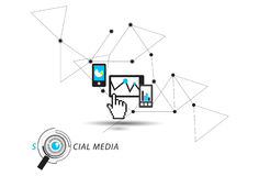Средства массовой информации Social касания и часов Стоковое Изображение RF