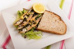 Срок на салате с чесноком и петрушкой, кусок хлеба и lem Стоковая Фотография