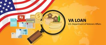 Ссуда под недвижимость займа VA в Соединенных Штатах гарантированных u S Отдел дел ветеранов иллюстрация вектора