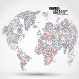 Ставит точки красочная трехмерная карта мира, абстрактные графики бесплатная иллюстрация