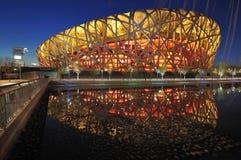 стадион мест ночи фарфора Пекин национальный Стоковая Фотография