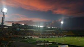 Стадион одетый в красном цвете стоковая фотография rf